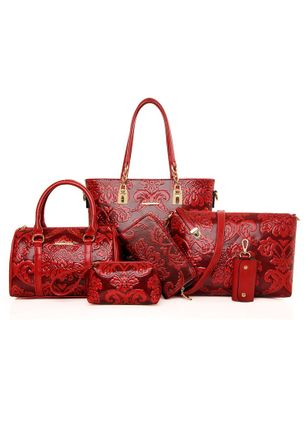 Bag Sets Fashion Zipper Print Double Handle Bags