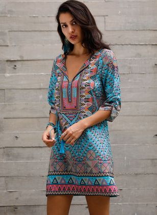 Boho Geometric Others Round Neckline Shift Dress (1095278)