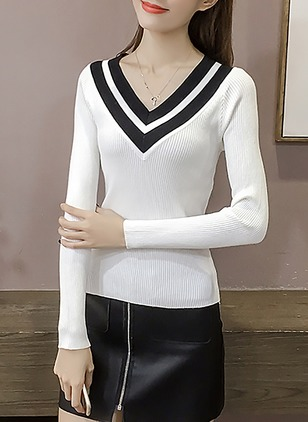 Cotton Color Block V-Neckline Long Sleeve Casual T-shirts