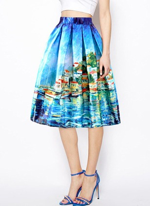 Silk Floral Knee-Length None Skirts