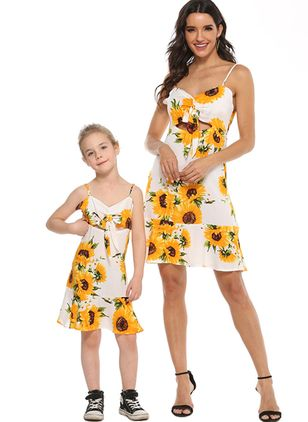 Mommy and Me Floral Sweet Sleeveless Family Outfits (1530233)