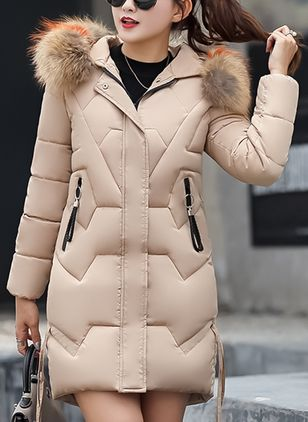 Long Sleeve Hooded Buttons Zipper Pockets Unremovable Fur Collar Padded Coats
