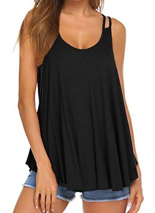 Solid Camisole Neckline Sleeveless Casual T-shirts (147222868)