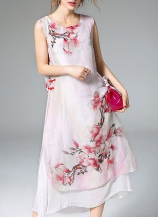Floral Buttons Sleeveless Midi Shift Dress
