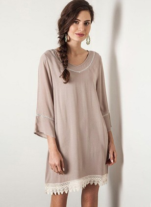 Color Block Lace 3/4 Sleeves Above Knee Shift Dress