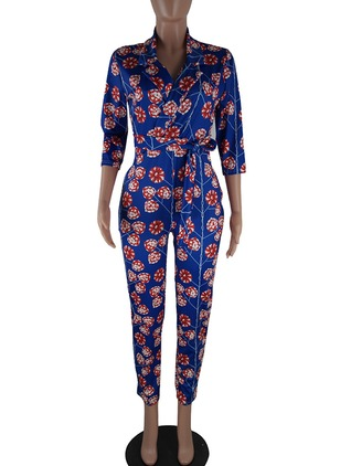 Cotton Floral 3/4 Sleeves Jumpsuits & Rompers