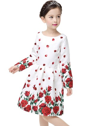Girls' Vintage Floral Party Long Sleeve Dresses