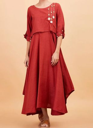 Solid Buttons Half Sleeve Maxi X-line Dress