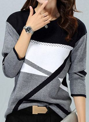 Round Neckline Color Block Casual Loose Regular Shift Sweaters (107252191)