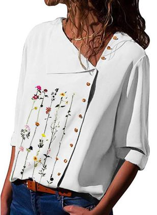 Floral Casual Oblique Neckline Long Sleeve Blouses (101240833)