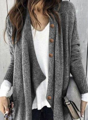 Long Sleeve V-neck Buttons Sweaters Coats (4348126)