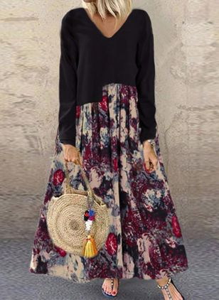 Casual Floral V-Neckline Long Sleeve Maxi Dress (106586813)
