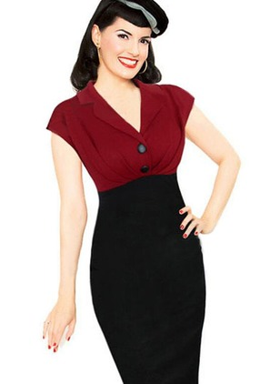 Solid Buttons Pencil V-Neckline Bodycon Dress