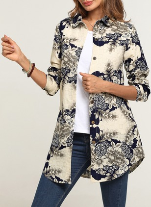 Floral Casual Cotton Collar Long Sleeve Blouses