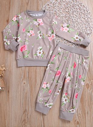 Girls' Basic Floral Daily Long Sleeve Clothing Sets