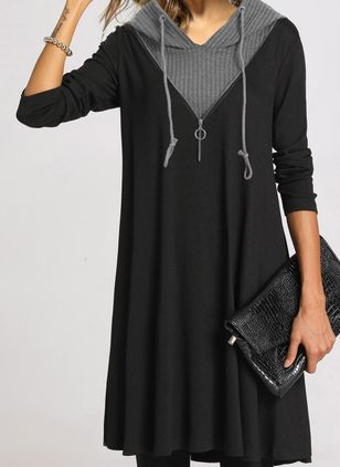 Casual Color Block Tunic V-Neckline A-line Dress (109973648)