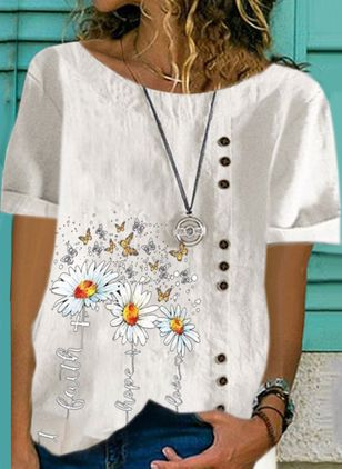 Floral Casual Round Neckline Short Sleeve Blouses (4209116)