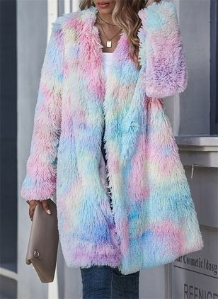 Long Sleeve Collarless Fur Coats (104534477)