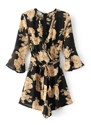 Chiffon Floral 3/4 Sleeves Flare Sleeve Jumpsuits & Rompers