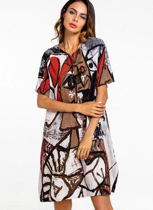 Character Short Sleeve Mini A-line Dress