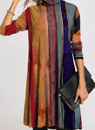Casual Color Block Tunic High Neckline A-line Dress (107805466)