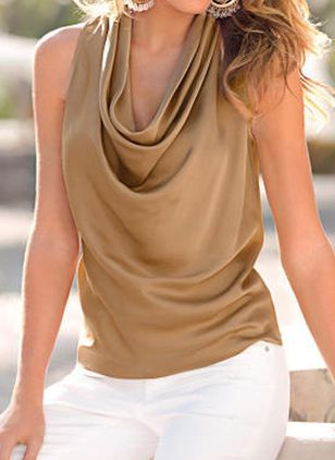 Solid Casual Draped Neckline Sleeveless Blouses (4037449)
