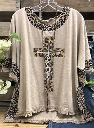 Leopard Round Neck Half Sleeve Casual T-shirts (147066754)
