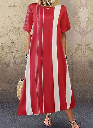 Casual Stripe Tunic Round Neckline A-line Dress (4049231)