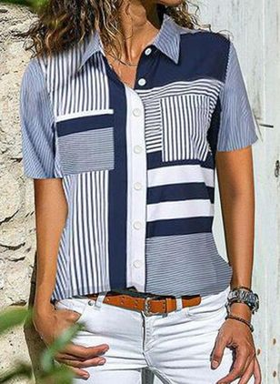 Stripe Casual Collar Short Sleeve Blouses (4037565)