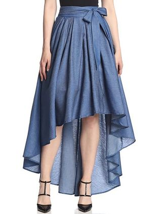 Solid High Low Vintage Sashes Skirts