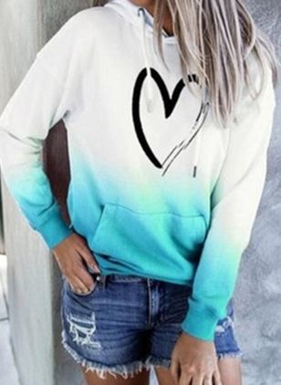 Color Block Alldaglig Hooded Fickor Sweatshirtar (107561517)