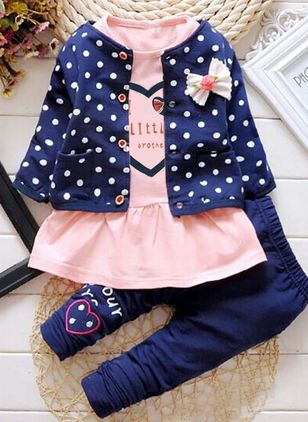 Girls' Cute Polka Dot Daily Long Sleeve Clothing Sets