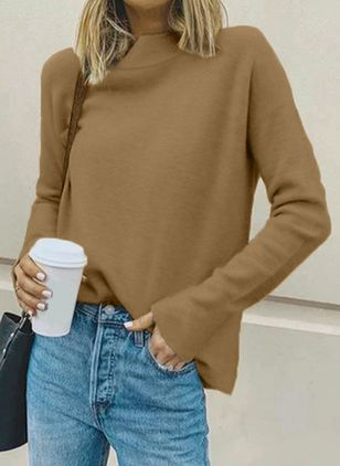 Round Neckline Solid Casual Loose Regular Shift Sweaters (107151368)