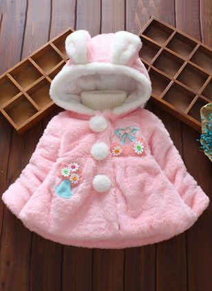 Girls' Sweet Floral Hooded Coats