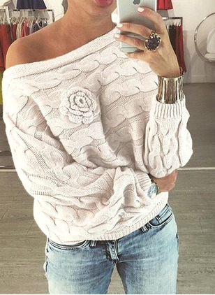 Solid Casual Cotton Oblique Neckline Long Sleeve Blouses