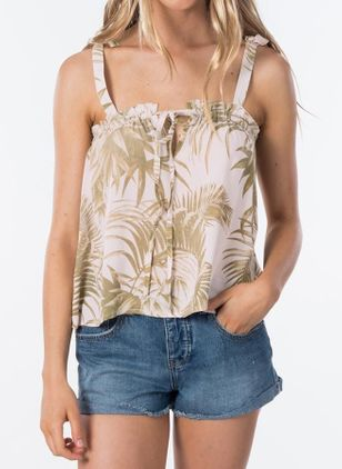 Floral Sexy Camisole Neckline Sleeveless Blouses (146981465)