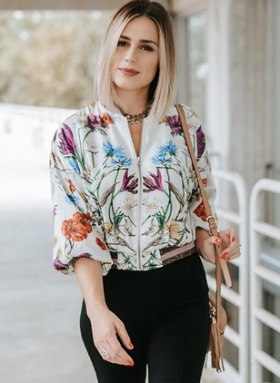 Floral Cotton Round Neckline Long Sleeve Blouses