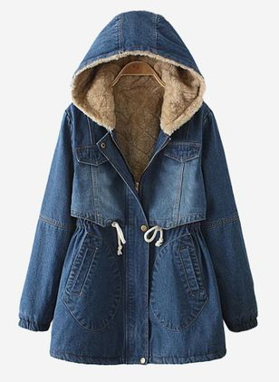Long Sleeve Hooded Sashes Buttons Zipper Pockets Coats (106821171)