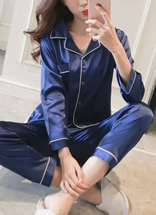 Collar Color Block Pockets Pajamas