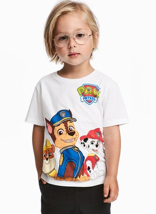 Boys' Animal Round Neckline Short Sleeve Tops