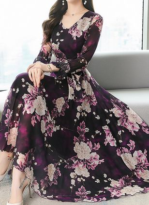 Casual Floral V-Neckline Maxi X-line Dress (6211234)