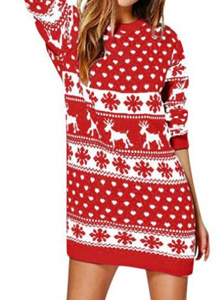 Christmas Animal Sweater Round Neckline Shift Dress (131285478)