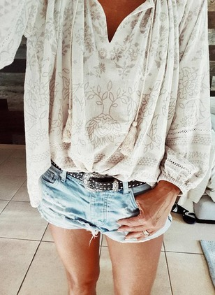 Floral Cotton V-Neckline Long Sleeve Blouses