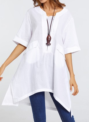 Solid Casual Cotton Linen Round Neckline Half Sleeve Blouses
