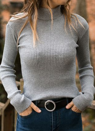 High Neckline Solid Casual Tight Regular Shift Sweaters (107251032)