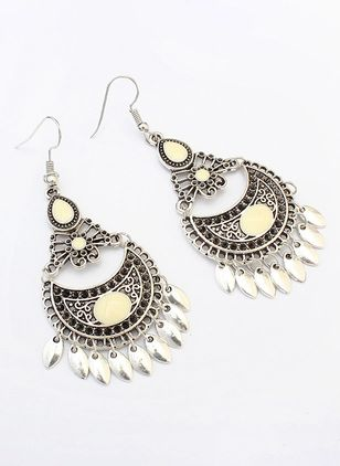Elegant Geometric No Stone Dangle Earrings (146738048)