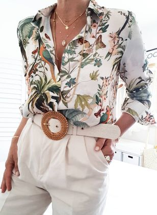 Floral Elegant Collar Long Sleeve Blouses (1432075)