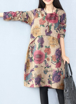Cotton Blends Floral Long Sleeve Knee-Length Casual Dresses  ...
