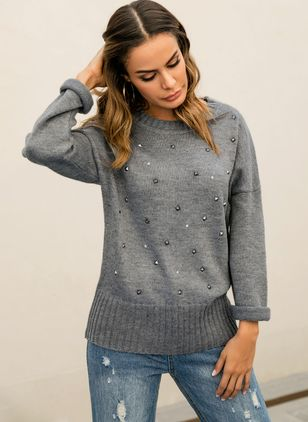 Round Neckline Solid Loose Regular Rivets Shift Sweaters Sweaters
