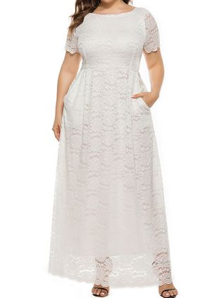Plus Size Solid Round Neckline Casual Lace Pockets Maxi Plus Dress (1521809)